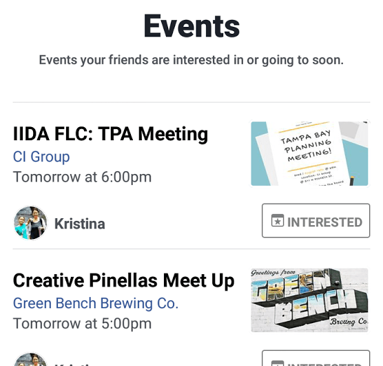 Facebook Events Notification Landing Page Now Sports Updated Look with New Message