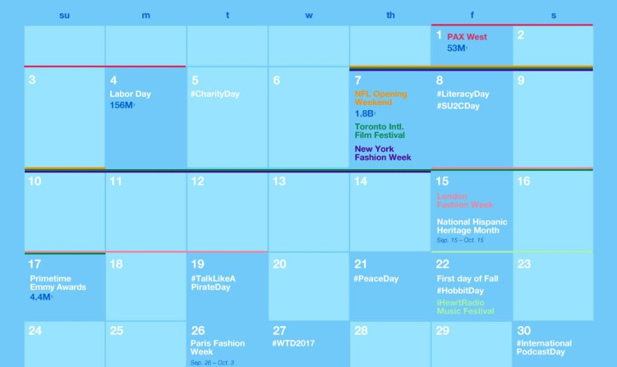 Twitter September Major Events Calendar Released