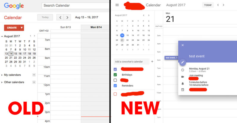 new Google calendar user interface