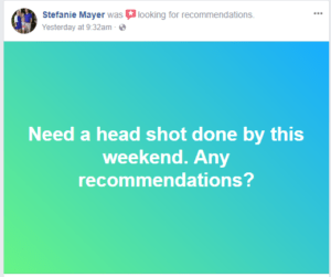Facebook Ask for Recommendations badge