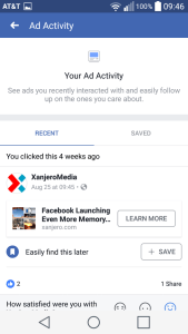 Facebook Recent Ad Activity Android 3