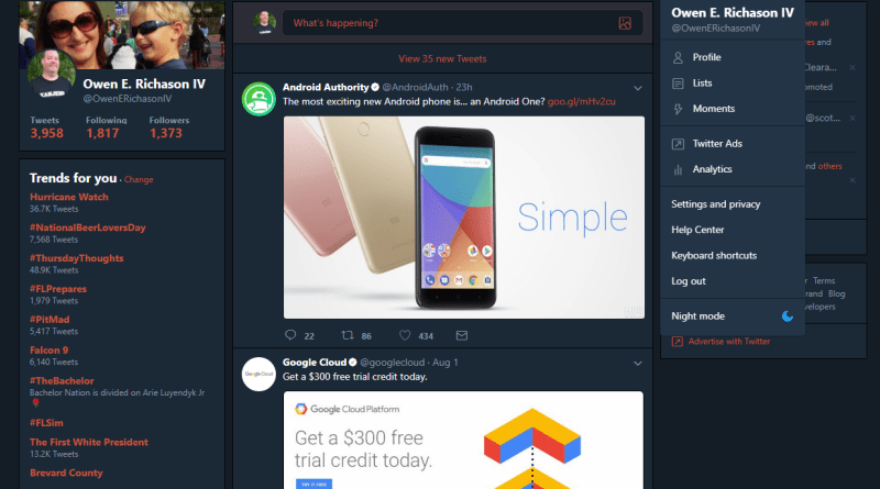 Twitter desktop night mode enabled
