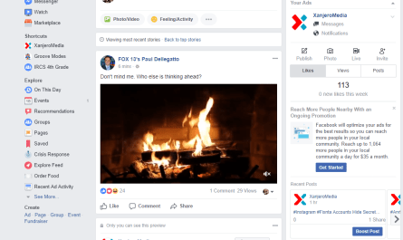 Facebook Explore Feed desktop