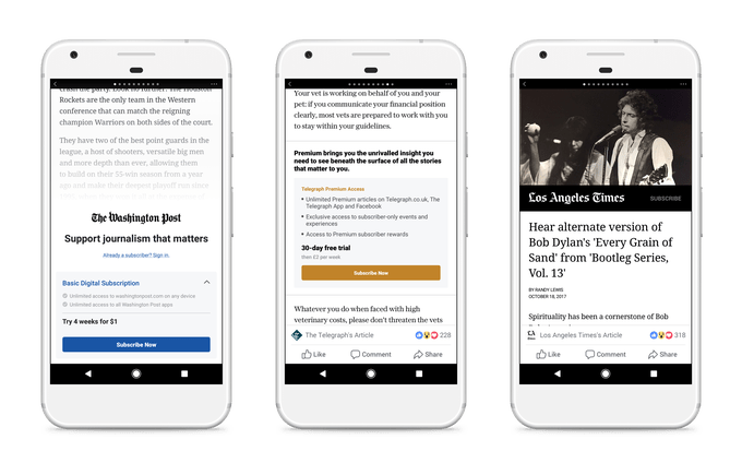 Facebook Paywall Subscription Testing Begins