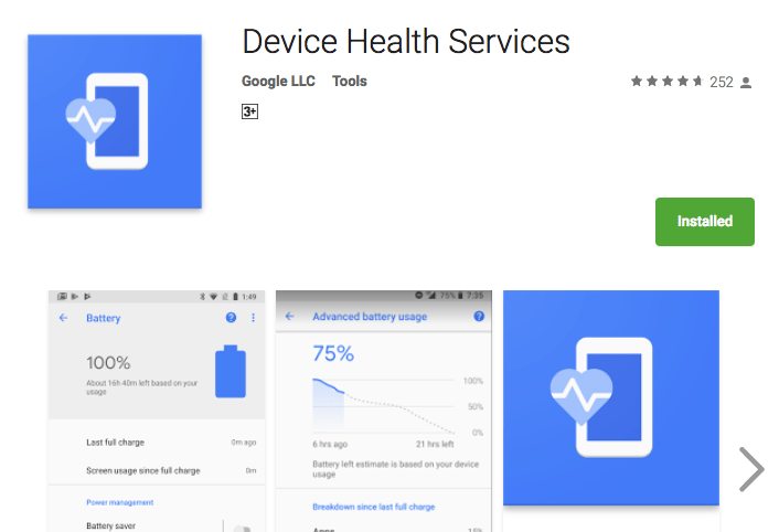Google Device Health Services Battery App Now Available in the Play Store