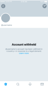 Twitter Country Withheld Content account withheld