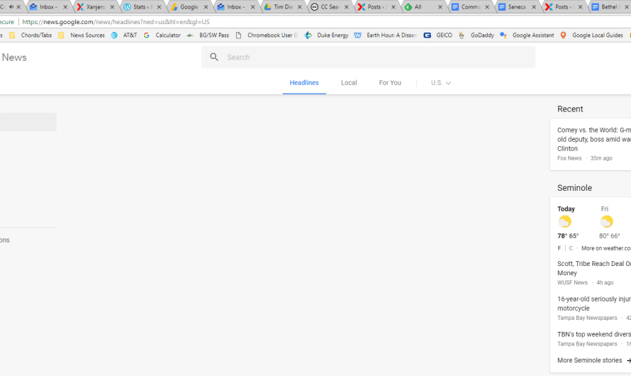Google News Down, Homepage and Sections nearly Blank