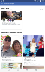 Facebook Discover people page