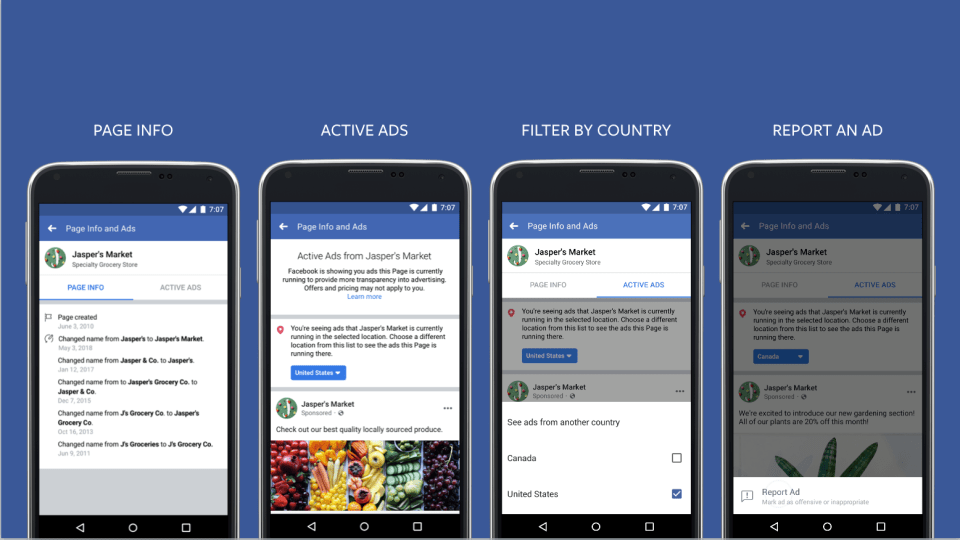 Facebook Pages ad transparency tool