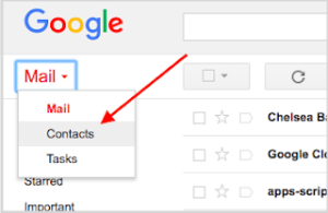 Google Gmail contacts shortcut screenshot