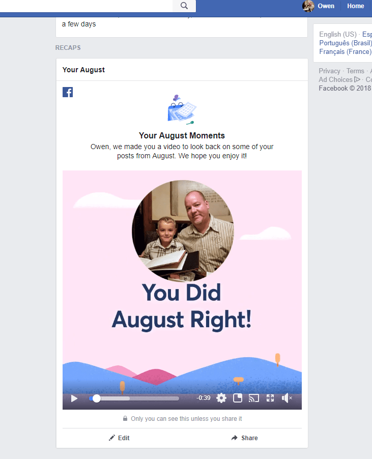2018 Facebook August Moments Video Rolls Out to Android, iOS