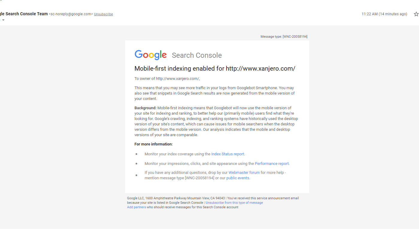 Google mobile-first index enabling notifications