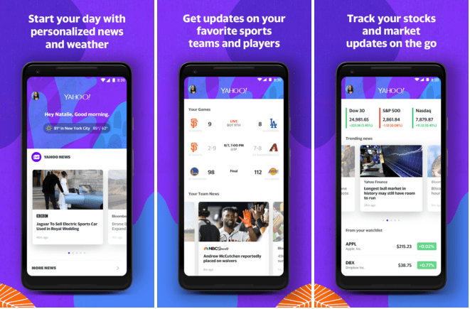 personalize Yahoo mobile app