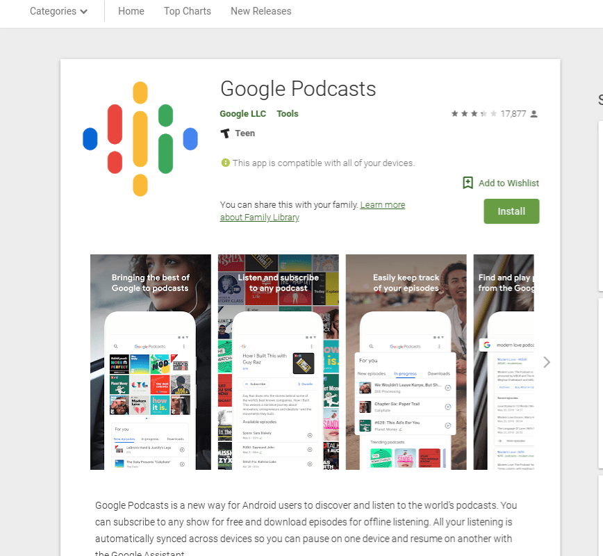 Android Google Podcasts episode sharing