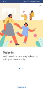 Facebook Today In welcome screen