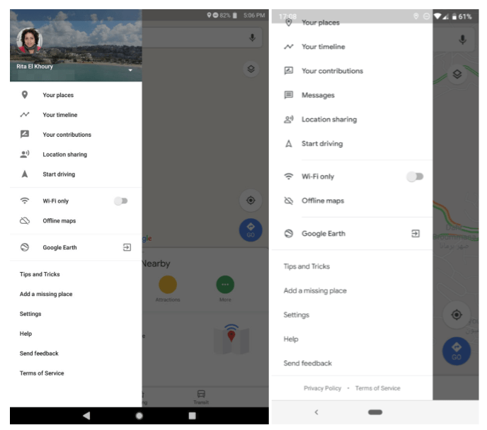 Google just Updated the Side Menu in the Maps Mobile App to