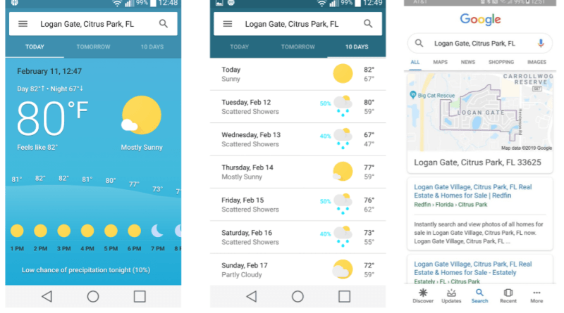 Google app weather section