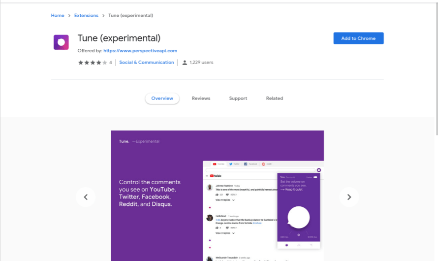 Tune, a New Chrome Browser Extension, Hides Toxic Comments using AI