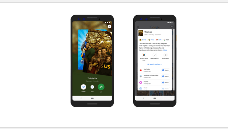 Google Now Let's People Swipe Left and Right on TV Shows and Movies Mobile Search
