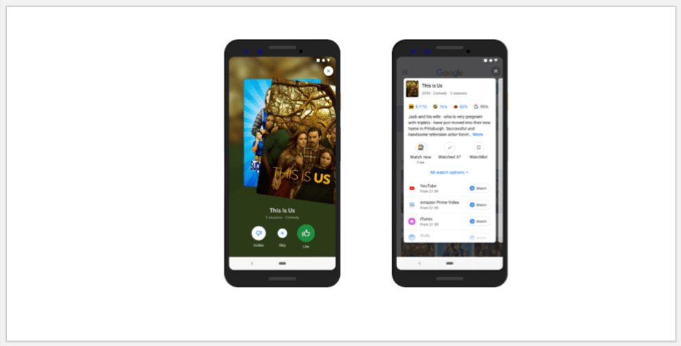 Google TV and movie mobile search