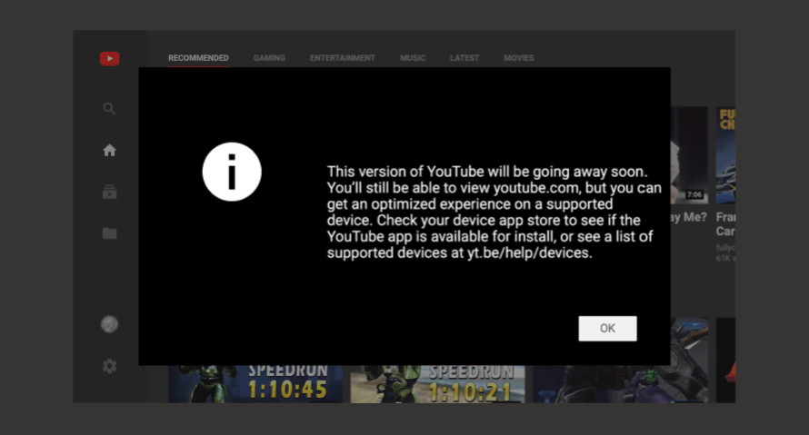 YouTube is About to Sunset its TV-Friendly Web Experience