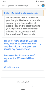 Google Opinion Rewards help center missing credits section