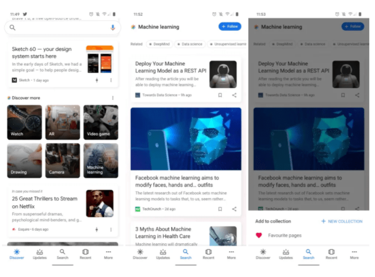 Google app Discover more recommendations card