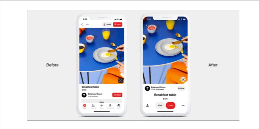Pinterest mobile app redesign