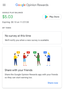 Google Opinion Rewards balance expiration notice