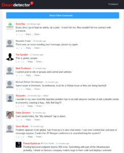 Linked outage user complaints January 14th 2020