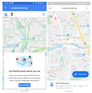 Google Maps location sharing interface redesign