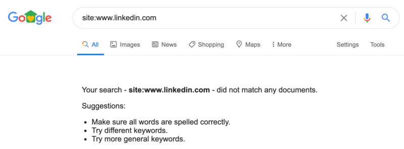 Whoops! LinkedIn's Website Temporarily Disappeared from Google Search