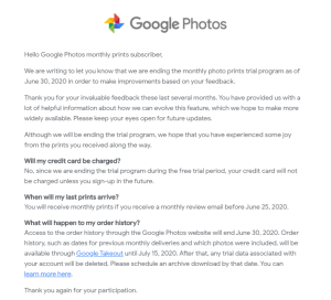 Google Photos printed picture subscription service shut down notice