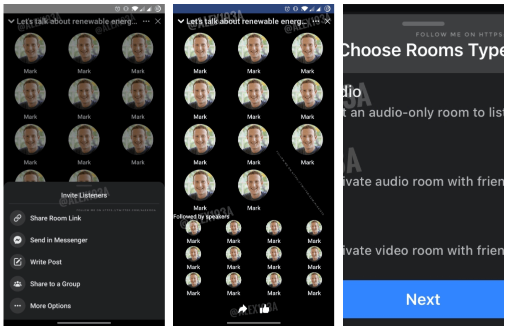 new Facebook Live Audio Clubhouse copy screenshots
