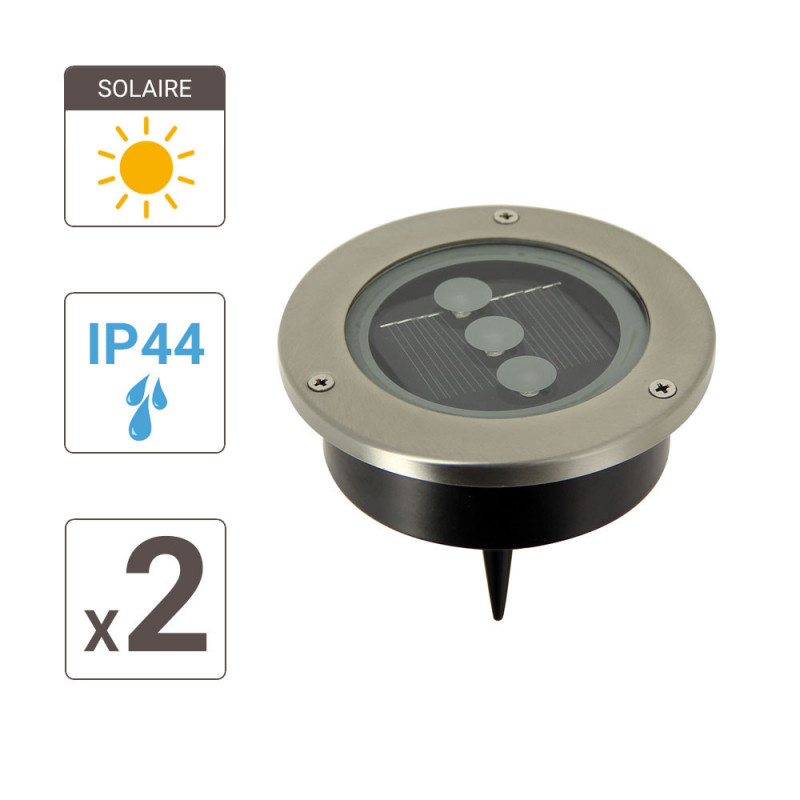 Set Of 2 Solar Powered Recessed Spotlights Intensity Of 3 Leds