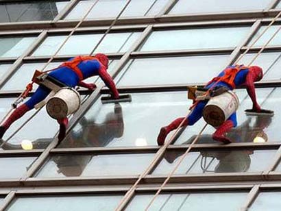 Spider Man washing the Windows