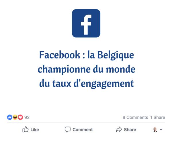Facebook Belgique Taux d'engagement