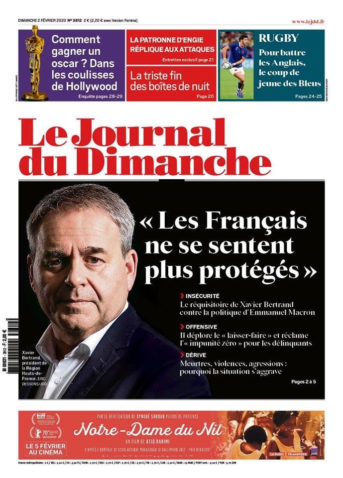 Interview dans le Journal du Dimanche (02/02/2020)