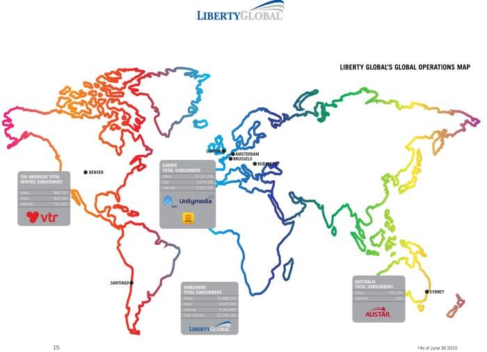 Liberty Global dans le monde en 2010.