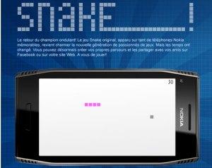 Snake sur la page Facebook de Nokia.