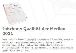 Une étude sur la qualité de l'information en Suisse.