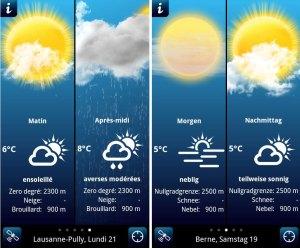 La météo pour la Suisse par ID Mobile.