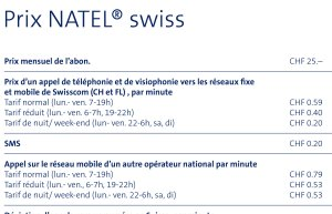 L'abonnement Natel Swiss de Swisscom qui n'est plus proposé aux clients.