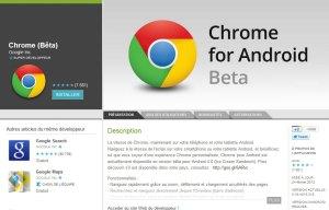 Le navigateur Chrome de Google pour Android.
