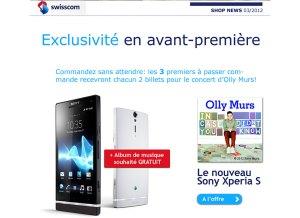 Le Sony Xperia S en Suisse et chez Swisscom.