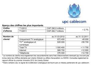 UPC Cablecom sur le premier trimestre 2012.