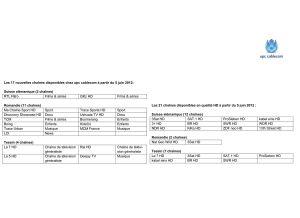 Les nouvelles chaînes de TV d'UPC Cablecom.