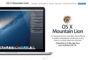 OS X Mountain Lion pour 20 francs seulement.