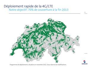 Le réseau 4G / LTE à fin 2013 tel que planifié par Swisscom.