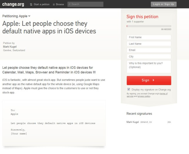 Choix de l'application par défaut sur iOS: une pétition sur change.org.